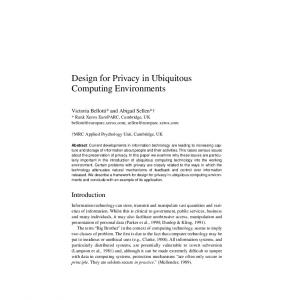 Design for Privacy in Ubiquitous Computing Environments