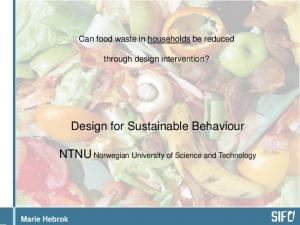 Design for Sustainable Behaviour