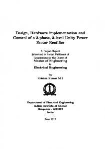 Design, Hardware implementation and Control of a 3-phase, 3-level Unity Power Factor Rectifier
