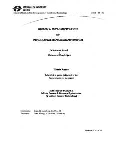 DESIGN & IMPLEMENTATION INTEGRATED MANAGEMENT SYSTEM. Thesis Report