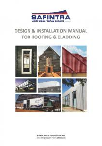 DESIGN & INSTALLATION MANUAL FOR ROOFING & CLADDING