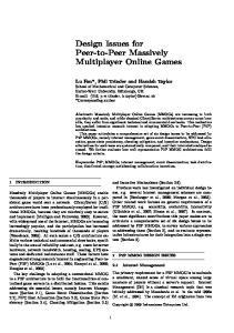Design Issues for Peer-to-Peer Massively Multiplayer Online Games