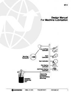 Design Manual For Machine Lubrication