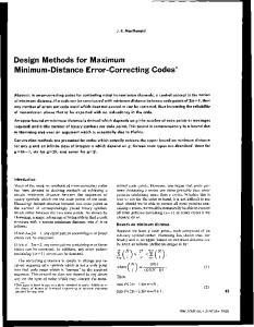 Design Methods for Maximum Minimum-Distance Error-Correcting Codes*