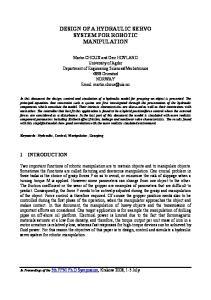 DESIGN OF A HYDRAULIC SERVO SYSTEM FOR ROBOTIC MANIPULATION