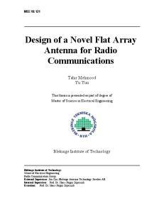 Design of a Novel Flat Array Antenna for Radio Communications