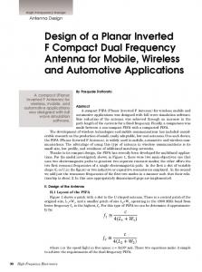 Design of a Planar Inverted F Compact Dual Frequency Antenna for Mobile, Wireless and Automotive Applications