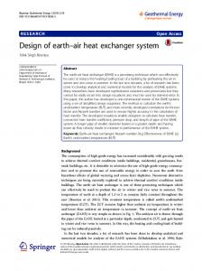 Design of earth air heat exchanger system