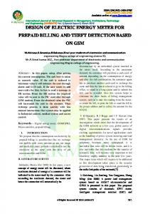DESIGN OF ELECTRIC ENERGY METER FOR PREPAID BILLING AND THEFT DETECTION BASED ON GSM