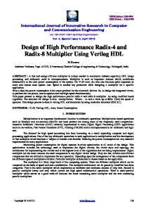 Design of High Performance Radix-4 and Radix-8 Multiplier Using Verilog HDL