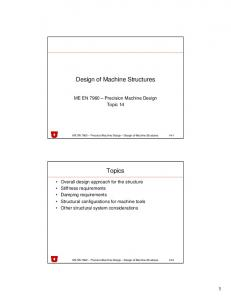 Design of Machine Structures. Topics
