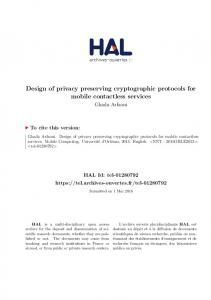 Design of privacy preserving cryptographic protocols for mobile contactless services