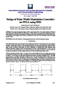 Design of Pulse Width Modulation Controller on FPGA using HDL