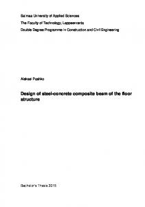 Design of steel-concrete composite beam of the floor structure