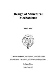 Design of Structural Mechanisms