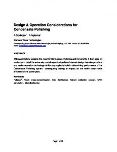 Design & Operation Considerations for Condensate Polishing