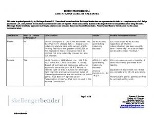 DESIGN PROFESSIONAL LIMITATION OF LIABILITY CASE INDEX