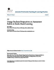 Design Students Perspectives on Assessment Rubric in Studio-Based Learning