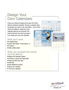 Design Your Own Calendars