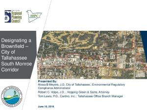 Designating a Brownfield City of Tallahassee South Monroe Corridor