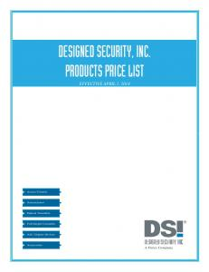 DESIGNED SECURITY, INC. PRODUCTS PRICE LIST