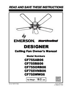 DESIGNER Ceiling Fan Owner's Manual