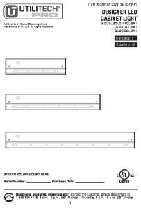 DESIGNER LED CABINET LIGHT MODEL #GU0414CL-BA-I GU0622CL-BA-I GU0830CL-BA-I