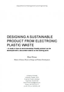 DESIGNING A SUSTAINABLE PRODUCT FROM ELECTRONIC PLASTIC WASTE