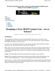 Designing a Toric (R)GP Contact Lens - Art or Science?