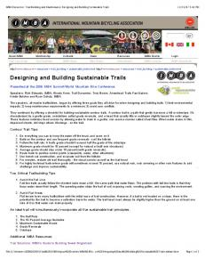 Designing and Building Sustainable Trails