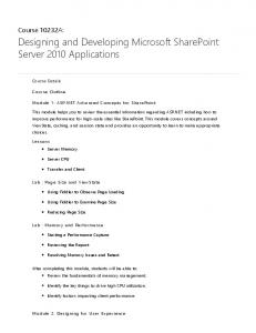 Designing and Developing Microsoft SharePoint Server 2010 Applications