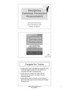 Designing Common Formative Assessments