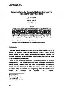 Designing Computer Supported Collaborative Learning Activities for Specific Contexts