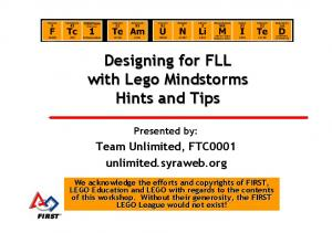 Designing for FLL with Lego Mindstorms Hints and Tips