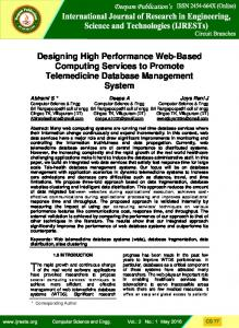 Designing High Performance Web-Based Computing Services to Promote Telemedicine Database Management System