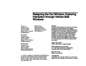 Designing the Car iwindow: Exploring Interaction through Vehicle Side Windows