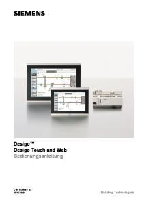 Desigo Desigo Touch and Web Bedienungsanleitung. CM111028de_ Building Technologies
