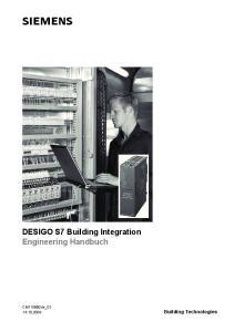 DESIGO S7 Building Integration Engineering Handbuch. CM110890de_ Building Technologies