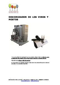 DESIONIZADOR DE LOS VINOS Y MOSTOS