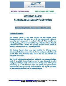 DESKTOP BASED PAYROLL MANAGEMENT SOFTWARE. Payroll Software Make Your Work Easy