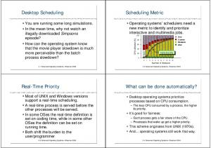 Desktop Scheduling. Scheduling Metric. Real-Time Priority. What can be done automatically?