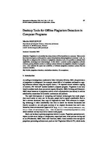 Desktop Tools for Offline Plagiarism Detection in Computer Programs