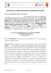 DESPACHO DE LA COMISION DE HACIENDA Y DESARROLLO ECONOMICO