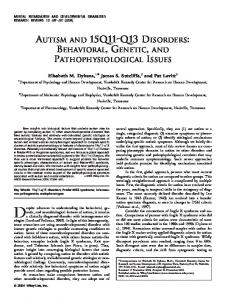 Despite advances in understanding the behavioral, genetic, AUTISM AND 15Q11-Q13 DISORDERS: BEHAVIORAL, GENETIC, AND PATHOPHYSIOLOGICAL ISSUES