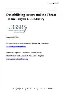 Destabilising Actors and the Threat to the Libyan Oil Industry