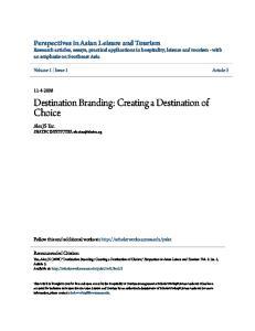 Destination Branding: Creating a Destination of Choice