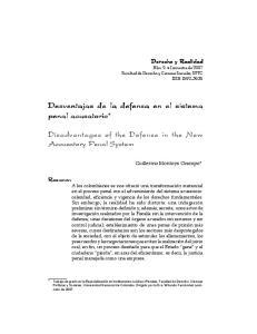 Desventajas de la defensa en el sistema penal acusatorio*