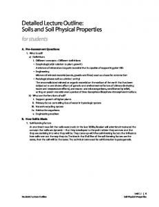 Detailed Lecture Outline: Soils and Soil Physical Properties