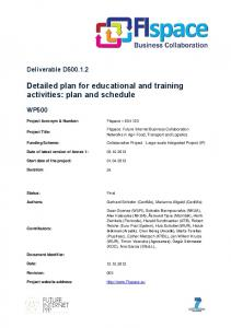 Detailed plan for educational and training activities: plan and schedule