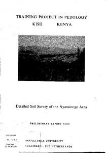 Detailed Soil Survey of the Nyansiongo Area